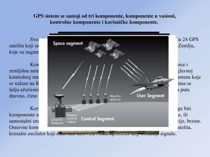 GPS sistem se sastoji od tri komponente, komponente u vasioni, kontrolne komponente i korisnike komponente.