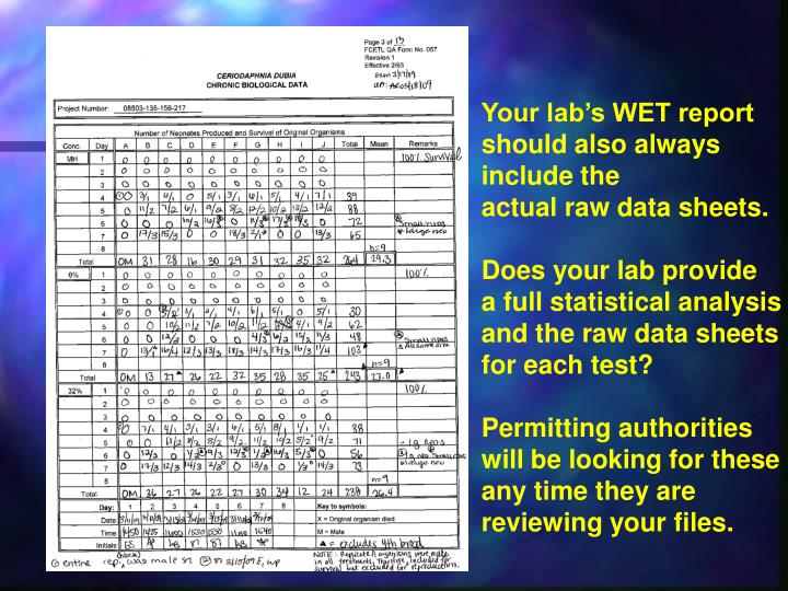 Your lab's WET report