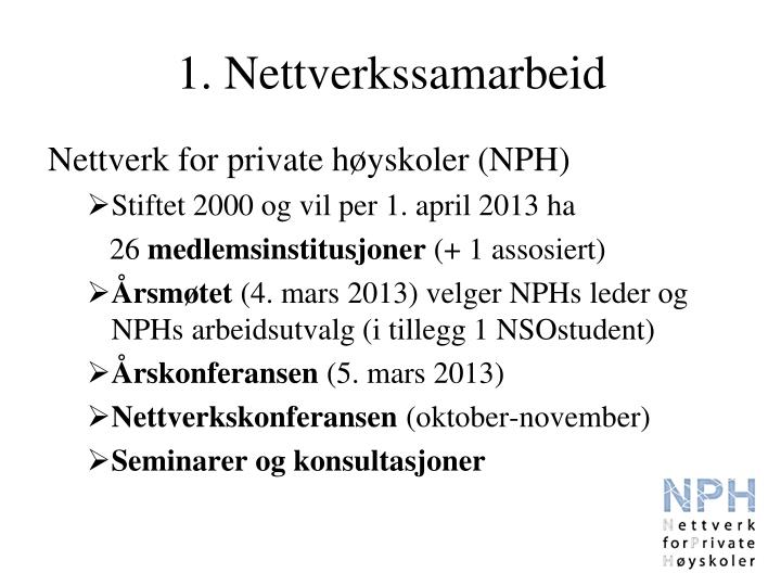 1. Nettverkssamarbeid