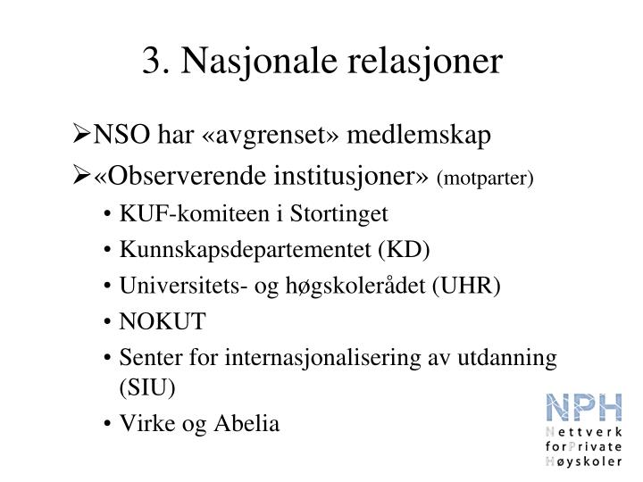 3. Nasjonale relasjoner