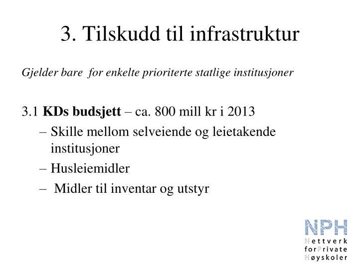 3. Tilskudd til infrastruktur