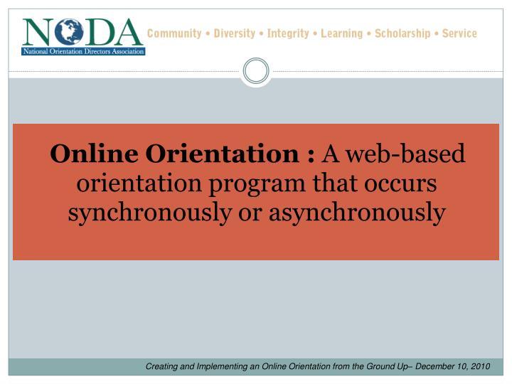 Online Orientation :