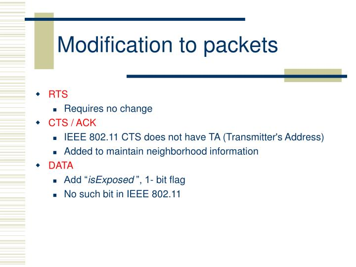 Modification to packets