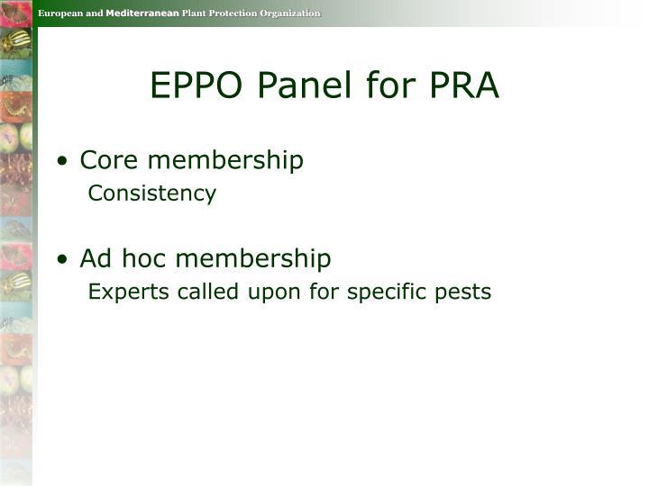 EPPO Panel for PRA