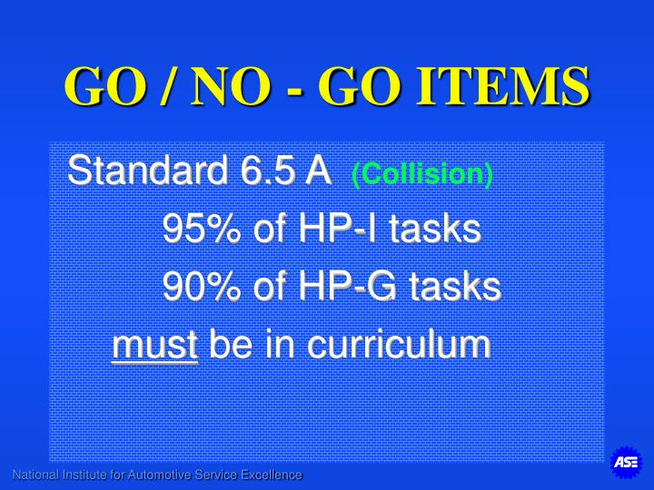 GO / NO - GO ITEMS
