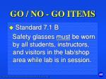 go no go items3