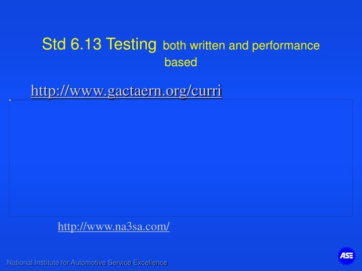 Std 6.13 Testing