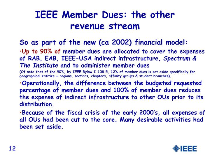 IEEE Member Dues: the other revenue stream