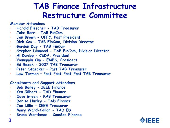 TAB Finance Infrastructure Restructure Committee