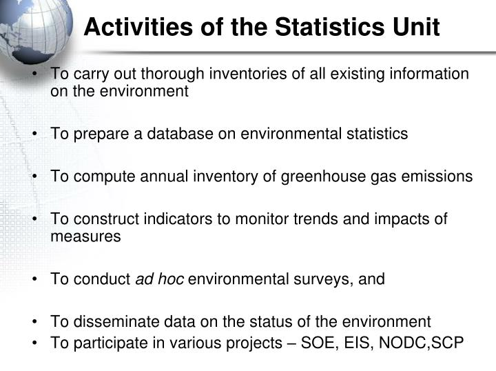 Activities of the statistics unit