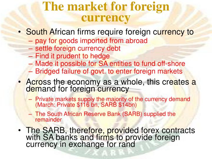 The market for foreign currency