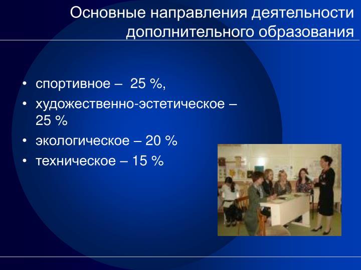 Основные направления деятельности дополнительного образования