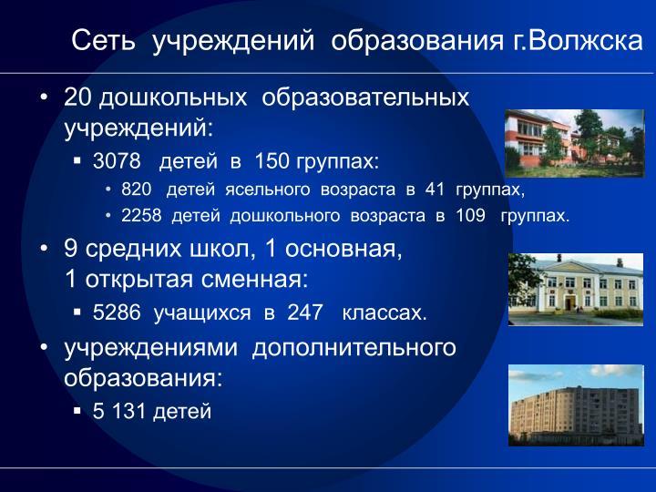 Сеть  учреждений  образования г.Волжска