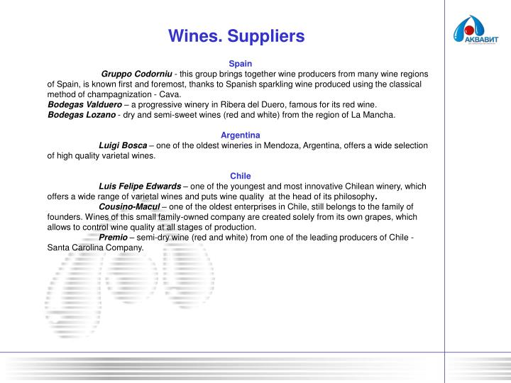 Wines. Suppliers