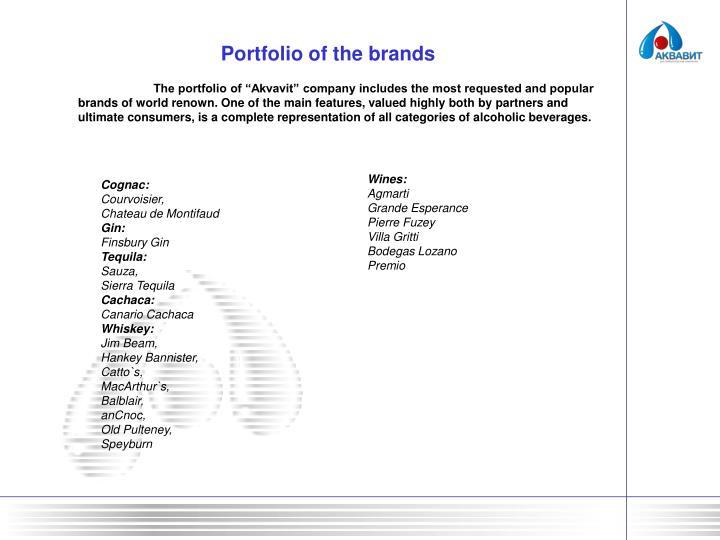Portfolio of the brands