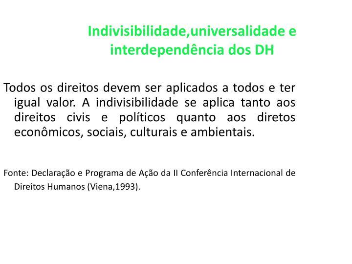 Indivisibilidade,universalidade e interdependência dos DH