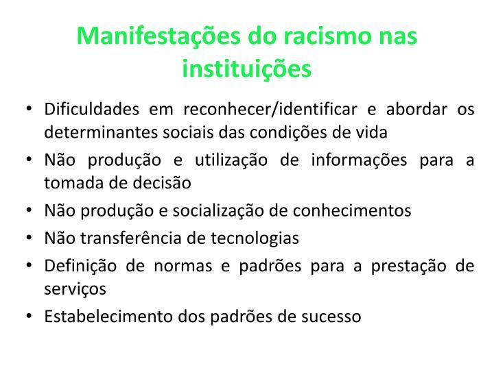 Manifestações do racismo nas instituições