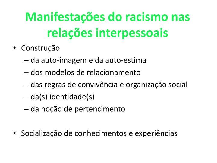 Manifestações do racismo nas relações interpessoais