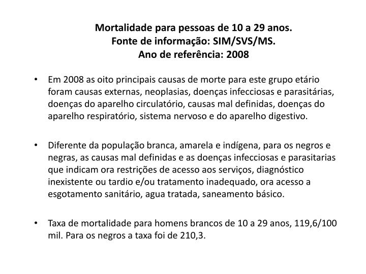 Mortalidade para pessoas de 10 a 29 anos.