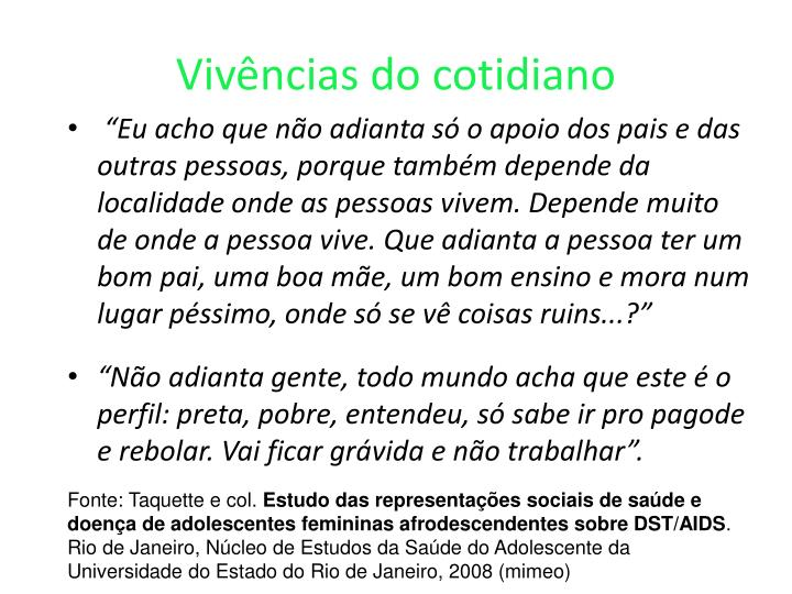 Vivências do cotidiano