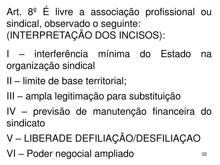 Art. 8  livre a associao profissional ou sindical, observado o seguinte: