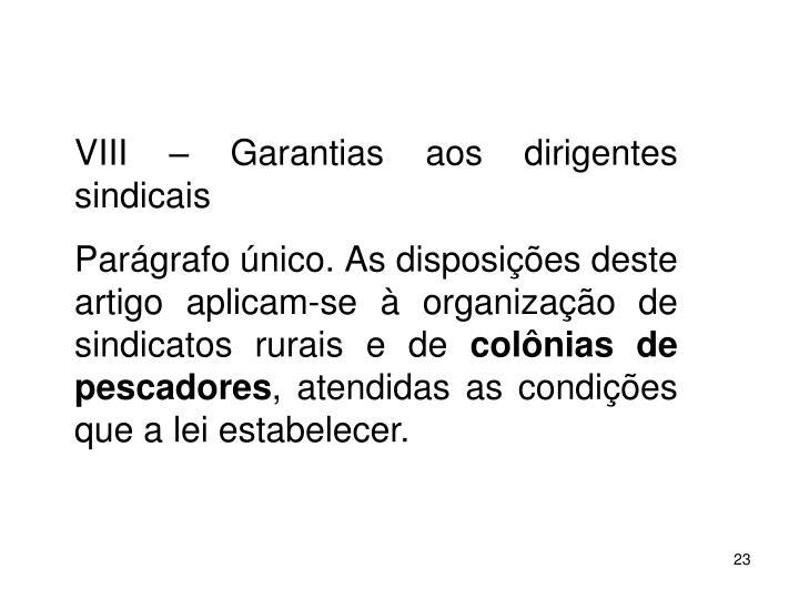 VIII  Garantias aos dirigentes sindicais