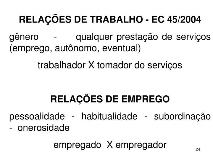 RELAES DE TRABALHO - EC 45/2004