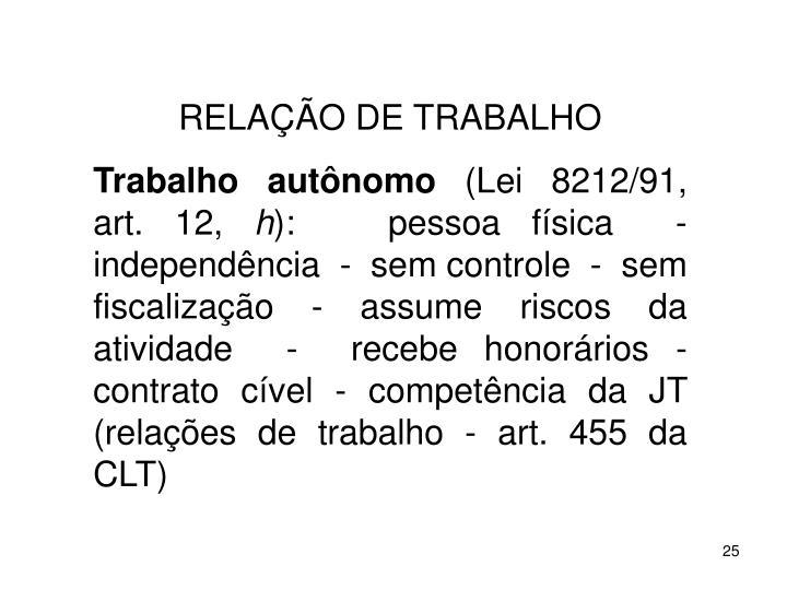 RELAO DE TRABALHO