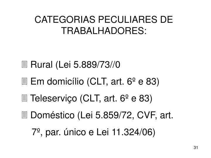 CATEGORIAS PECULIARES DE TRABALHADORES: