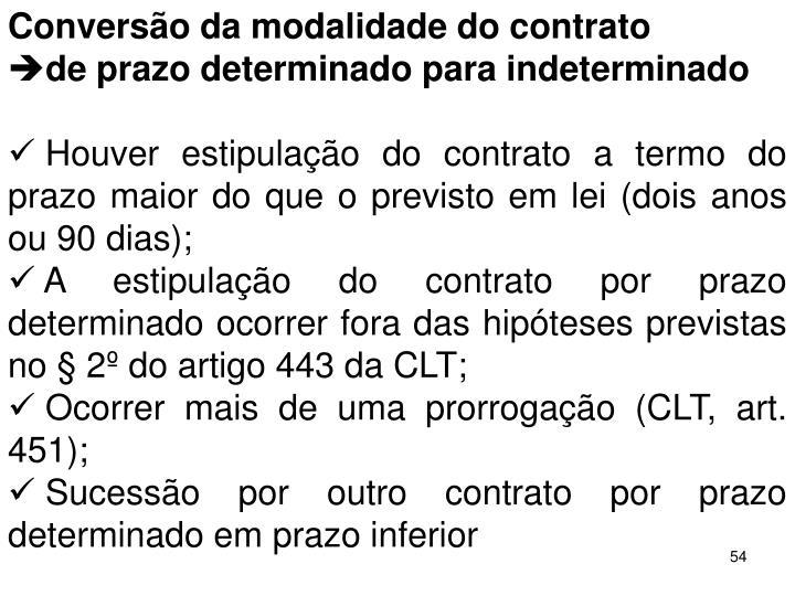 Converso da modalidade do contrato