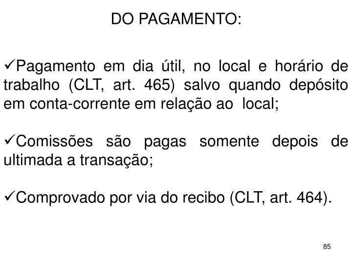 DO PAGAMENTO: