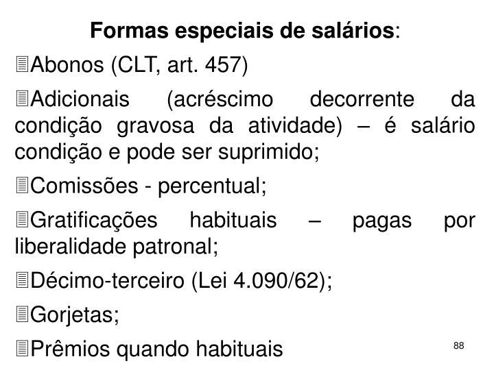 Formas especiais de salrios