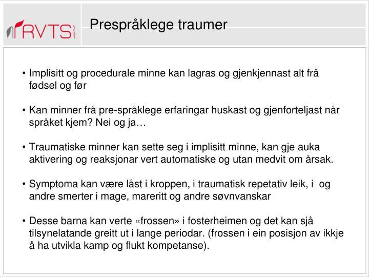 Prespråklege traumer