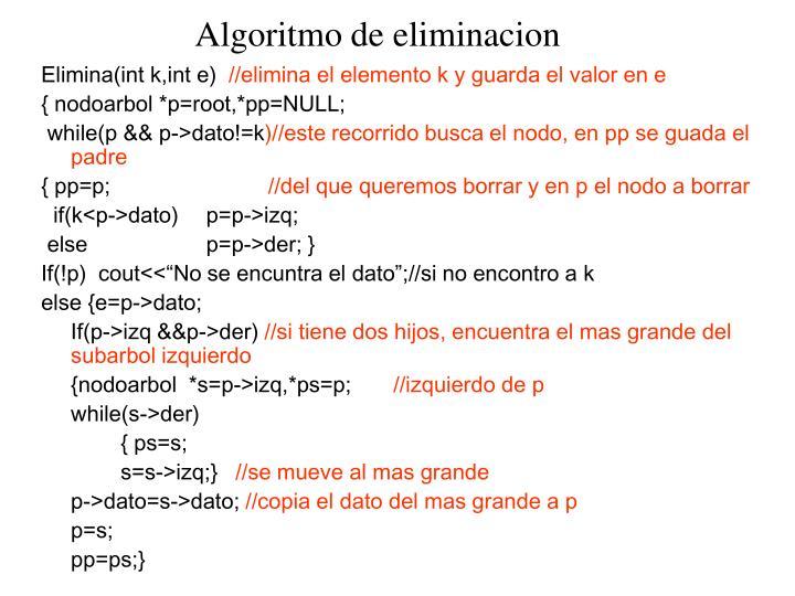 Algoritmo de eliminacion