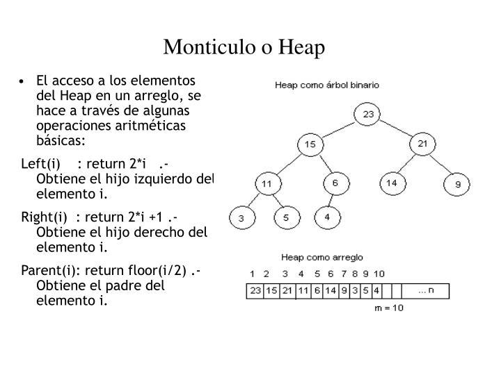 El acceso a los elementos del Heap en un arreglo, se hace a través de algunas operaciones aritméticas básicas: