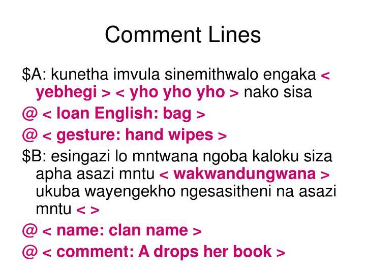 Comment Lines
