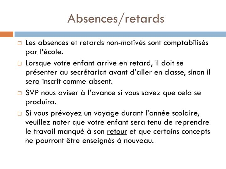Absences/retards