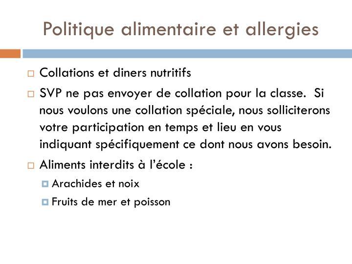 Politique alimentaire et allergies
