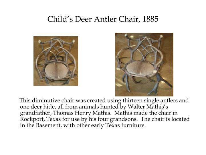 Child's Deer Antler Chair, 1885