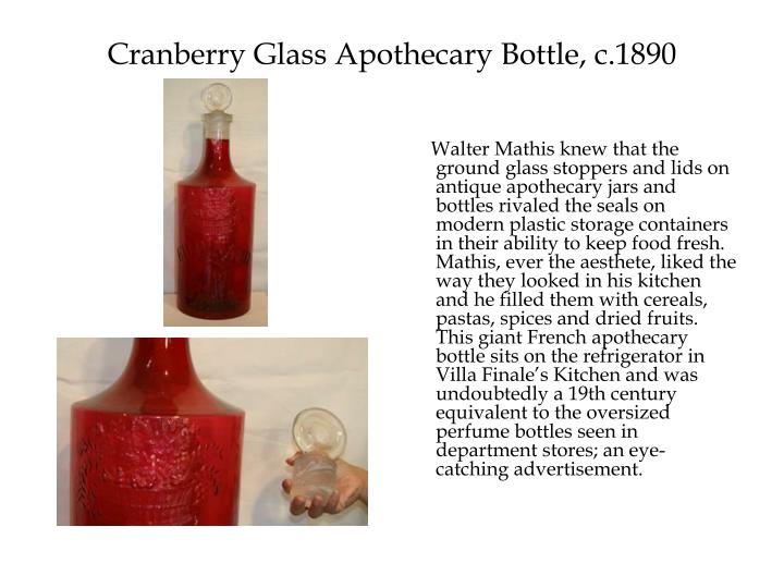 Cranberry Glass Apothecary Bottle, c.1890