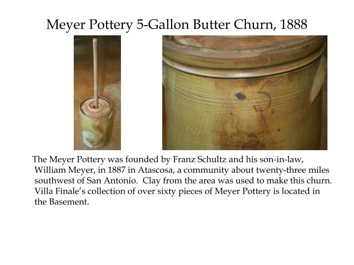 Meyer Pottery 5-Gallon Butter Churn, 1888