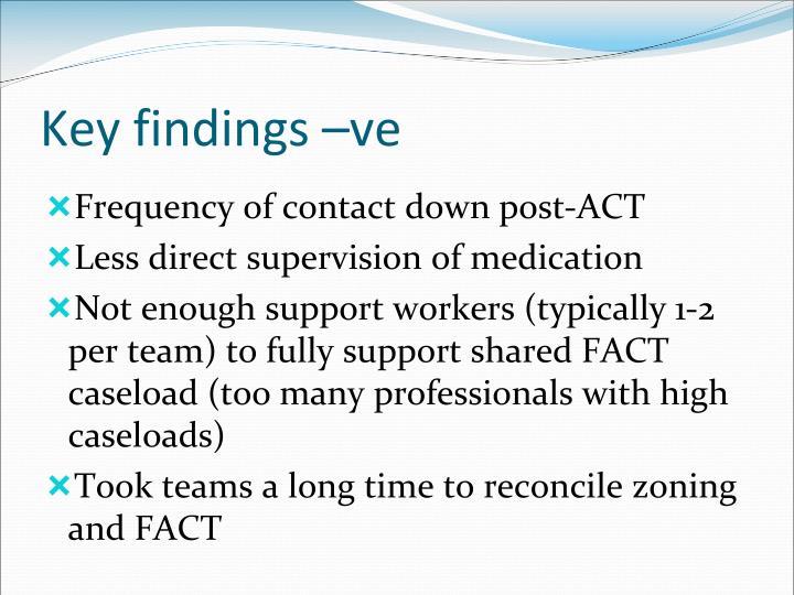 Key findings –ve