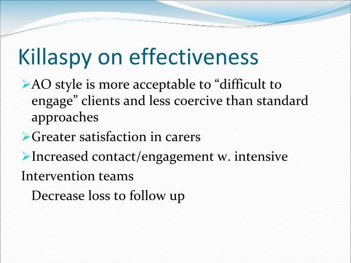 Killaspy on effectiveness