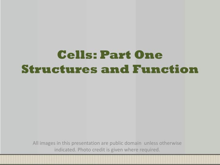 Cells part one structures and function