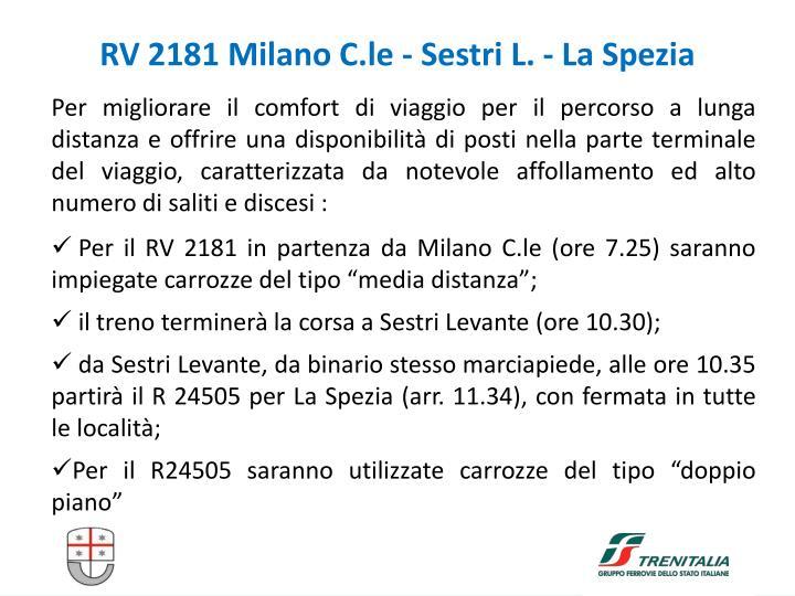 RV 2181 Milano C.le - Sestri L. - La Spezia
