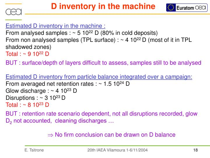 D inventory in the machine