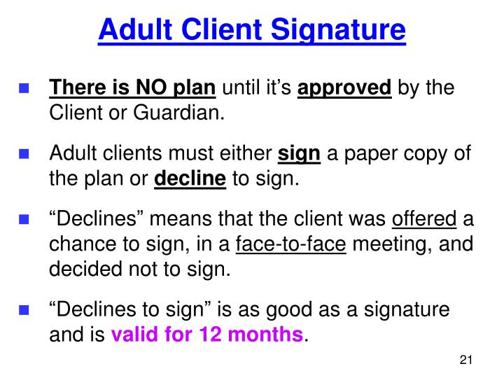 Adult Client Signature