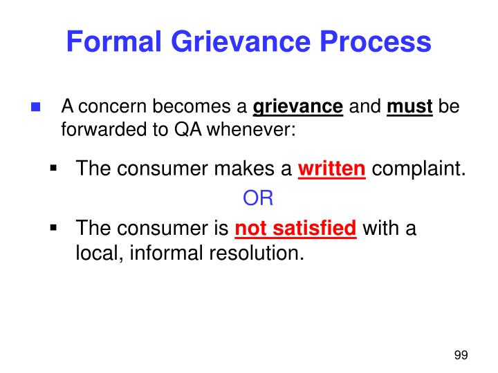 Formal Grievance Process