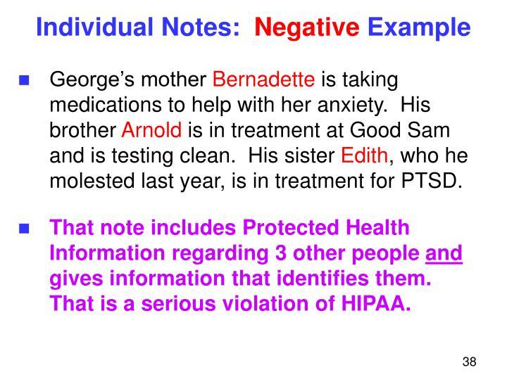 Individual Notes: