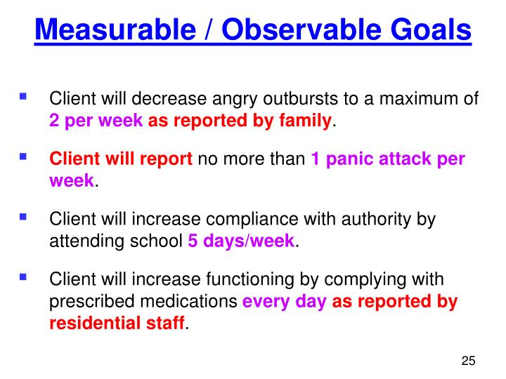 Measurable / Observable Goals